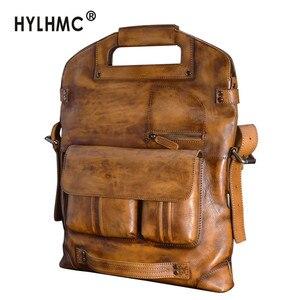 Кожаная мужская сумка, кожаная сумка, повседневная мужская сумка для ноутбука, Европейская и американская сумка-мессенджер, Ретро сумка на ...
