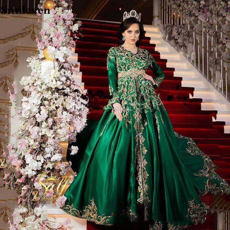 Smileven Caftan Satin Formal Evening Gowns With Long Sleeve A Line Gold Lace Special Occasion Prom Gown Vestido De Fiesta