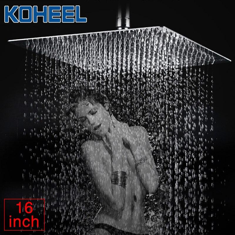 KOHEEL 16/12/10/8/6/4 Inch Round & Square Showerhead Stainless Steel Polished Chrome Wall Mounted Bathroom Rainfall Shower Heads