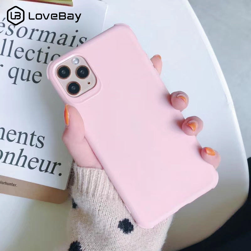 Galleria fotografica Lovebay Solid Color Shockproof Phone Case For iPhone 11 Pro X XR XS Max 8 7 6 6s Plus Candy Matte Soft TPU Silicone Back Cover