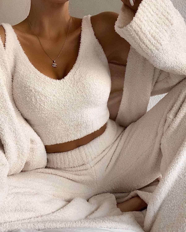 Plain Fluffy Crop Top & Pants Set