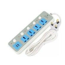 цена на USB Socket Power Strip EU US AU UK Universal AC Outlets UK Plug Electrical Socket Individual Switch 2USB Ports 1.8m Power Cord