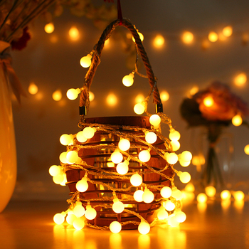 2M 5M 10M Fairy Garland LED Ball String Lights Waterproof For Christmas Tree Outdoor Patio Garland Decoration Battery Power 5m 20led 10m 35led big ball string light indoor outdoor decorative fairy lighting for christmas trees patio party