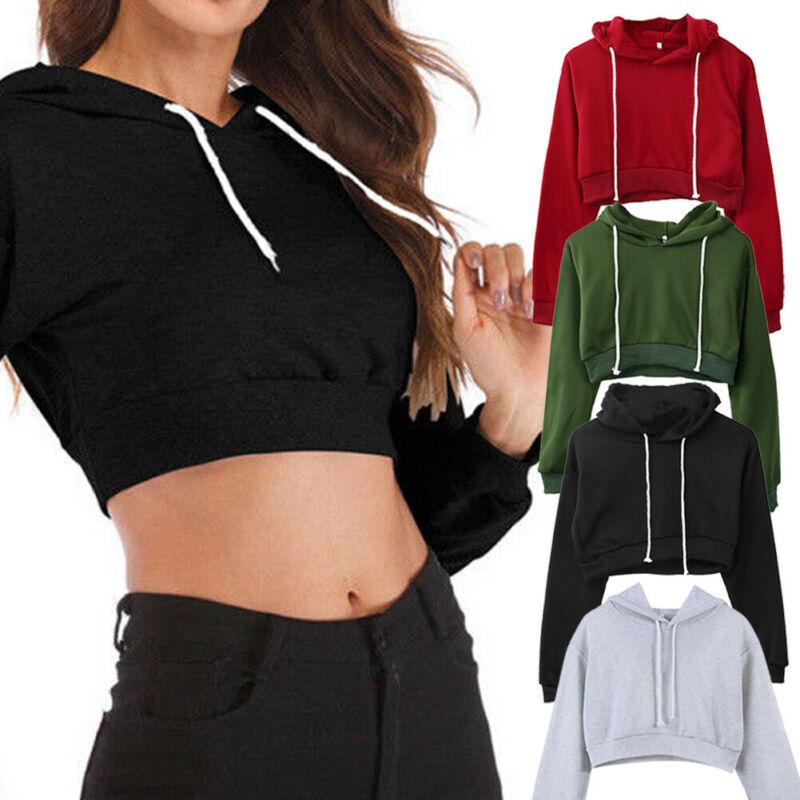 2019 Hot Women Fashion Top Hoodie Sweatshirt Jumper Sport Pullover Tops Sports Short Hoody Sweatshirt Tops