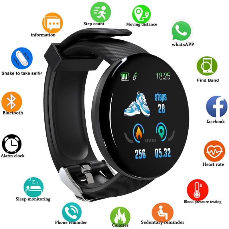 2020 New Smart Watch D18 Men Women Automatic Watch Round Bluetooth Intelligent Clock  Waterproof Sport Tracker Android Ios Z2
