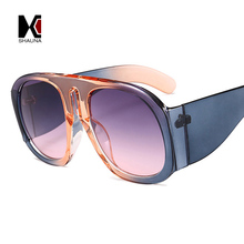 SHAUNA Summer Styles Oversize Women Round Sunglasses Brand D