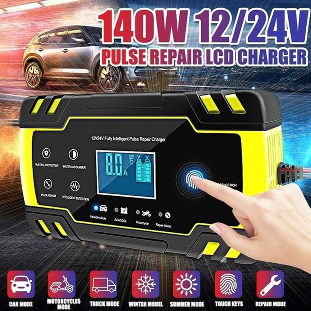 Motorcycle Car Battery Charger Smart Fast Pulse Repair Charger 12V 8A AGM Intelligent Emergency Charger With LCD Display