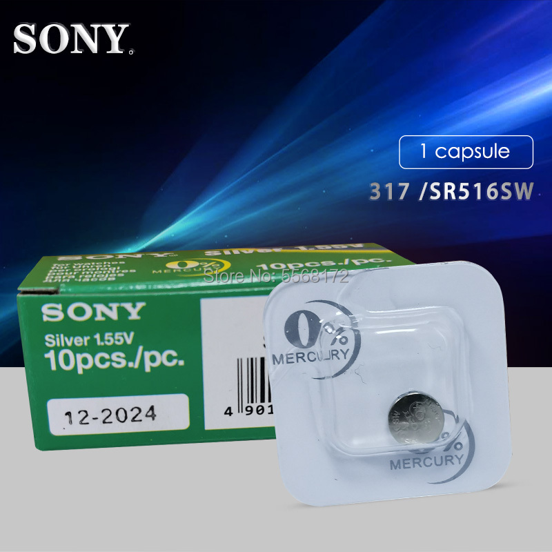 1pcs Sony 100% Original 317 <font><b>SR516SW</b></font> SR516 1.55V Silver Oxide Watch Battery MADE IN JAPAN Single grain packing image