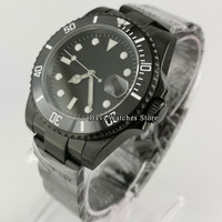 40mm Sterile Mens Watches Black PVD Case Sapphire Glass 24 Jewels Japan NH35 Automatic Movement Male WristWatch