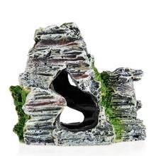 Аквариум с видом на горы каменная пещера дерево мост аквариум