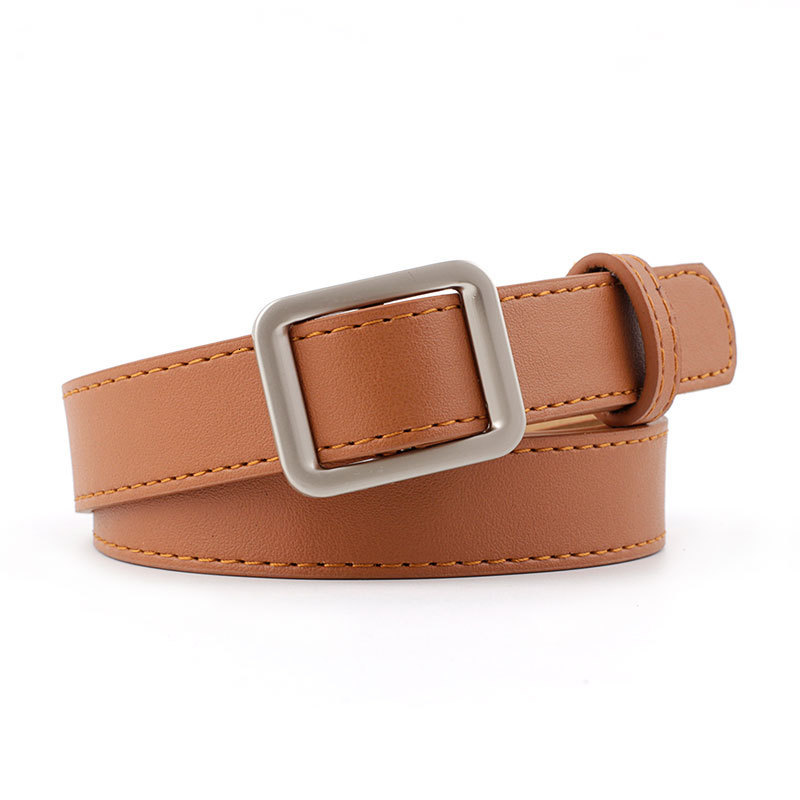 Ladies Belt Solid For Dress Jeans Waistband Women's Faux Leather Belts Metal Square Buckle Belt Waist Strap