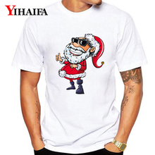 Men Women T-Shirt Funny Santa Claus 3D Print Christmas Graphic Tees Casual Unisex Tops Xmas Gift White Tee Shirts christmas santa graphic pompon embellished sweatshirt