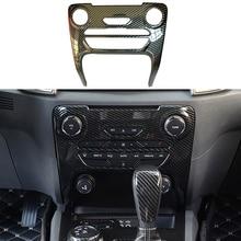 Piezas de coche, Color de fibra de carbono Interior para Ford Ranger Everest Endeavour 2015 2021, marco de botón CENTRAL, Cubierta dorada