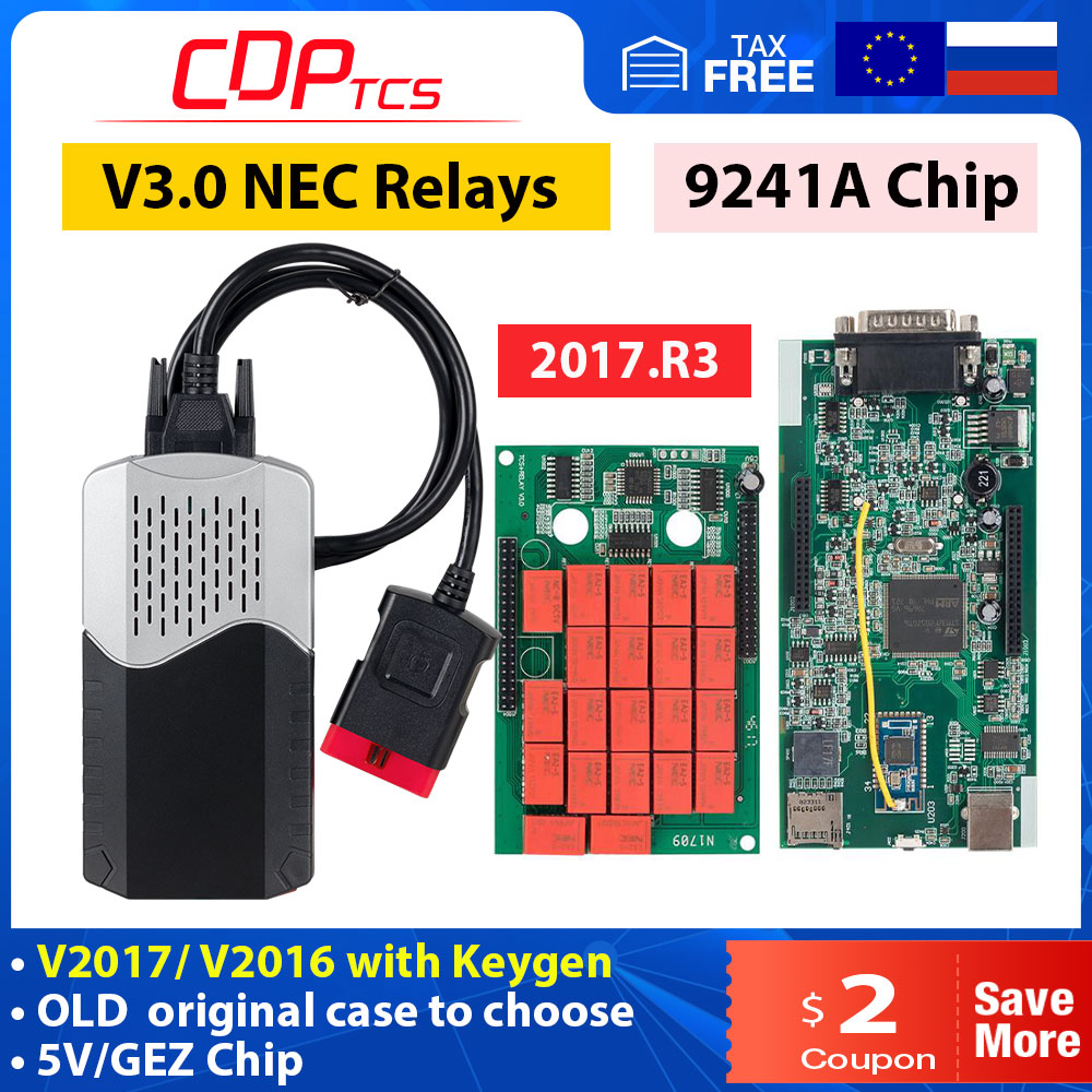 2021 CDP TCS 2017.R1 старый чехол V3.0 NEC Реле зеленый PCB 9241A чип multidiag pro + Bluetooth для автомобиля для грузовика OBD2 считыватель кодов