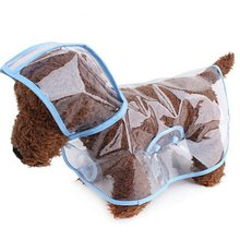 Outdoor Transparent Waterproof Fashion Puppy Pet Raincoat Dog Hooded for Small Medium Large DogMBlue