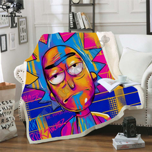 Plstar Cosmos Cartoon Rick and Morty funny Fleece Blanket 3D printed Sherpa Blanket on Bed Home Textiles Dreamlike style-3