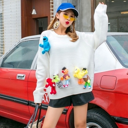 Thai street fashion cartoon doll loose comfortable sweater female loose long paragraph head round neck sweet sweater autumn