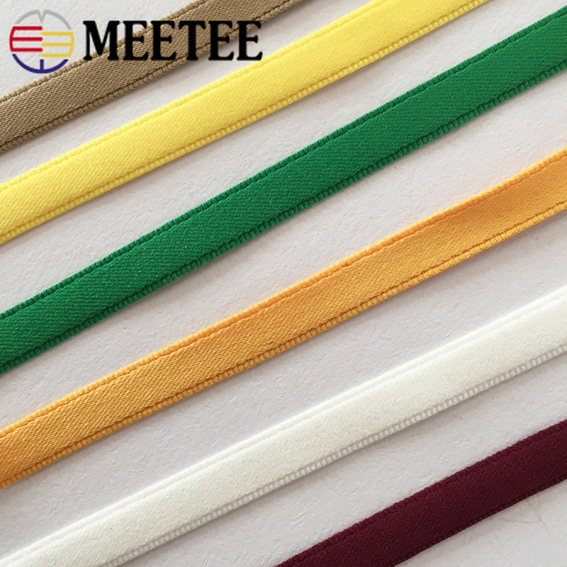 Meetee 21Meters 10mm Solid Color Jacquard Webbing Trims for Apparel Strap Nylon Lace Ribbon DIY Clothing Sewing Accessories