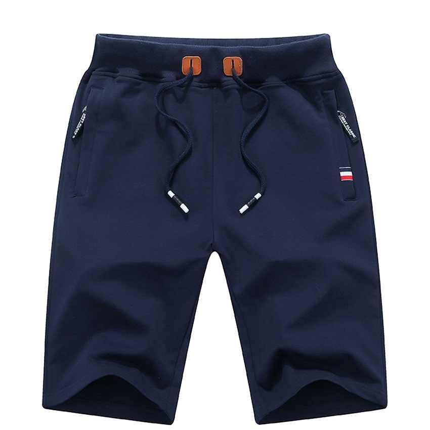 Erkek yaz pantolon şort % 2020 pamuk rahat bermuda siyah beyaz Boardshorts Homme klasik marka giyim plaj şortu erkek