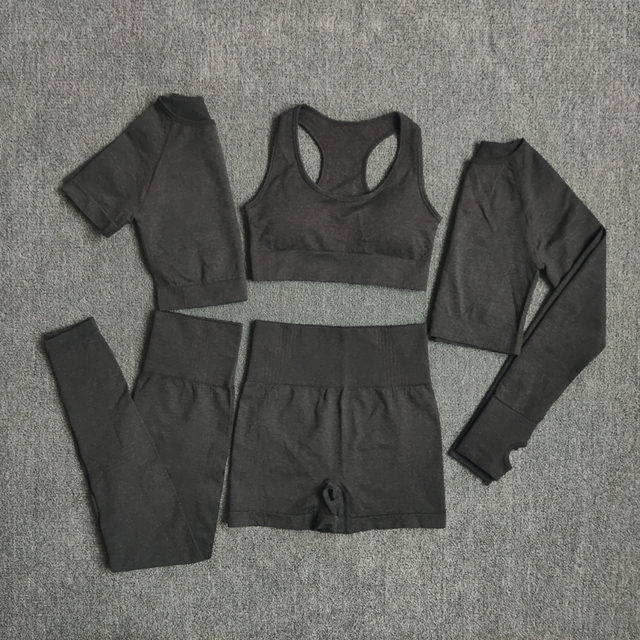 Hot Seamless Women Yoga Sets Gym Clothing Workout Sportswear Fitness Long Sleeve Crop Top High Waist Leggings Sports Suits
