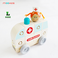 Mookids Wooden assembly block car children's toy buckle block classic mini early education cognition ambulance assembly