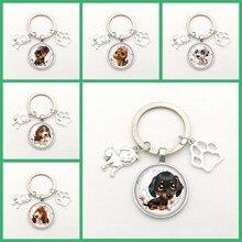 Mode Sleutelhanger Hond Legering Hanger Foto Glas Bolle Leuke Hond Pootafdruk Hanger Sleutelhanger Mody Charme Cadeaus Voor Mannen vrouwen Kettingen