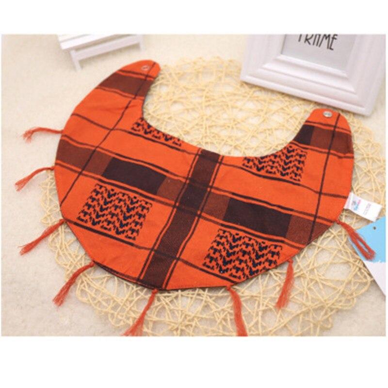 1 Pcs Pet Dog Blue Orange Cotton Bandana Triangle Scarf Tassel Lace-up Saliva Towel Pet Dog Bib Accessories
