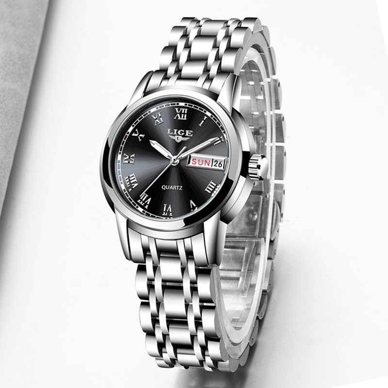 LIGE moda donna orologi donna Top Brand lusso calendario in acciaio inossidabile Sport orologio al quarzo orologio da donna impermeabile