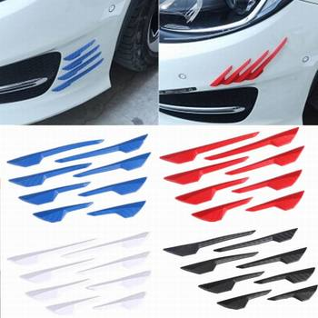8 Pcs Carbon Fiber Pattern Rubber Car Front Bumper Body Door Edge Guard Protector Anti-Scratch Sticker Strip For Car Accessories image