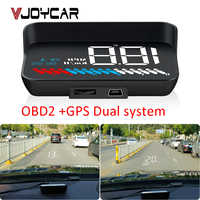 Auto Doppio Universale HUD Head Up Display del Sistema OBD II/GPS Interfaccia di Velocità Del Veicolo MPH KM/h Motore RPM di Velocità Eccessiva Attenzione Chilometraggio