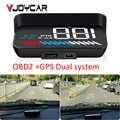 Carro universal duplo sistema hud cabeça up display obd ii/gps interface veículo velocidade mph km/h motor rpm excesso de velocidade aviso quilometragem