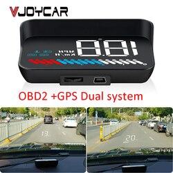 Uniwersalny podwójny System samochodowy wyświetlacz HUD Head Up interfejs OBD II/GPS prędkość pojazdu MPH KM/h silnik RPM ostrzeżenie o przekroczeniu prędkości przebieg w Wyświetlacz projekcyjny od Samochody i motocykle na