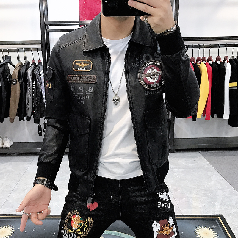Leather Jacket Men New Arrival Fashion Personality Embroidered Leather Jacket Men Thick Warm Coat