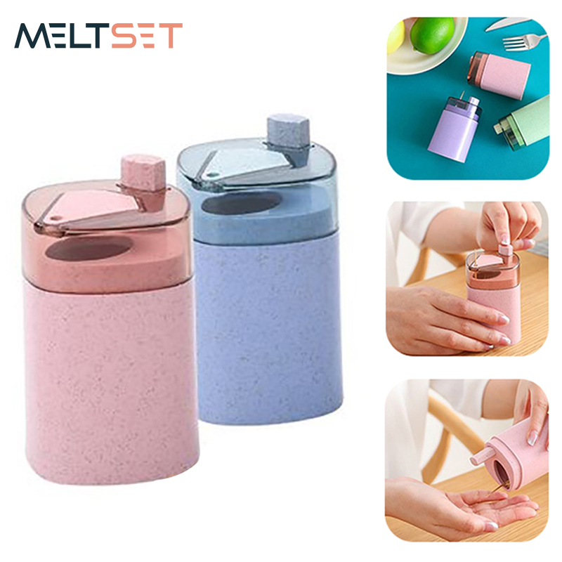 Automatic Toothpick Box Wheat Straw Toothpick Holder Container Portable Pop-up Toothpick Dispenser Storage Box Kitchen Organizer