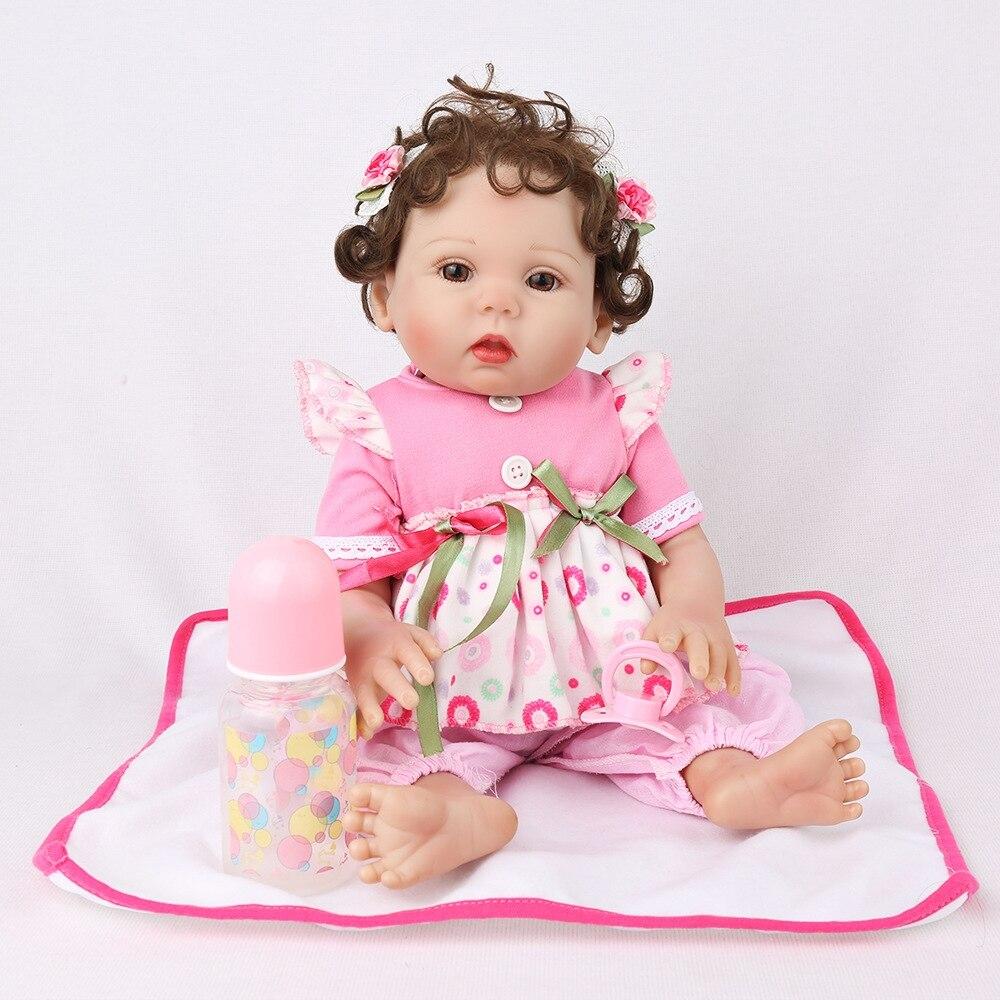 Mini 45cm 18 ''New único bebe reborn todos boneca de vinil com 1 ímã pcs chupeta linda brinquedos para o banho para as crianças sobre o presente de Natal - 3