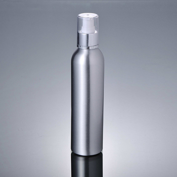 250ml Aluminium bottle with silver press pump lotion emulsion serum facial toner foundation skin care cosmetic packing
