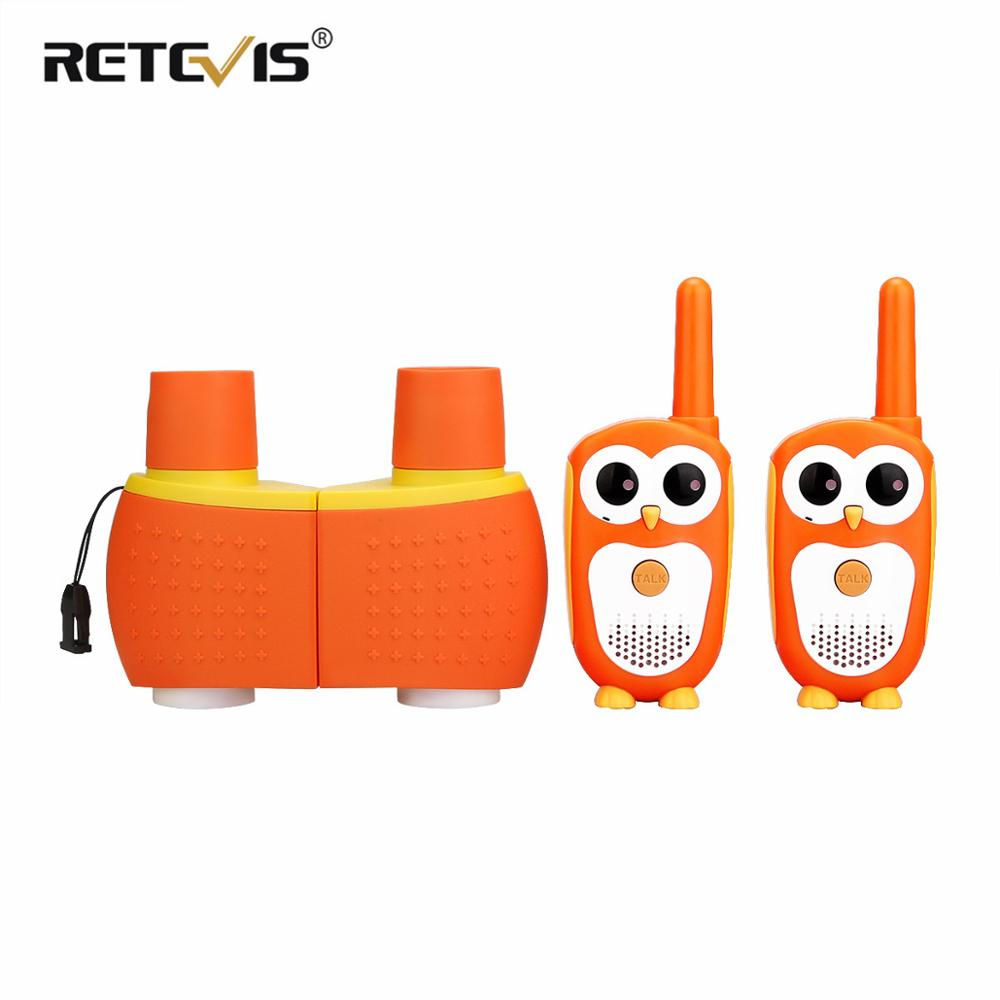 Retevis RT30  Mini Walkie Talkie  Kids Owl Design PMR 446 Portable Two Way Radio  And SV201 6X18 Binoculars Sets Christmas Gift