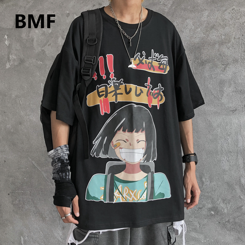 2020 Hip Hop Couple Clothes Ulzzang <font><b>Korean</b></font> <font><b>Style</b></font> Funny Print Short Sleeve <font><b>Men</b></font> Clothing Kpop Fashion Anime T-<font><b>Shirt</b></font> <font><b>Oversized</b></font> Tee image