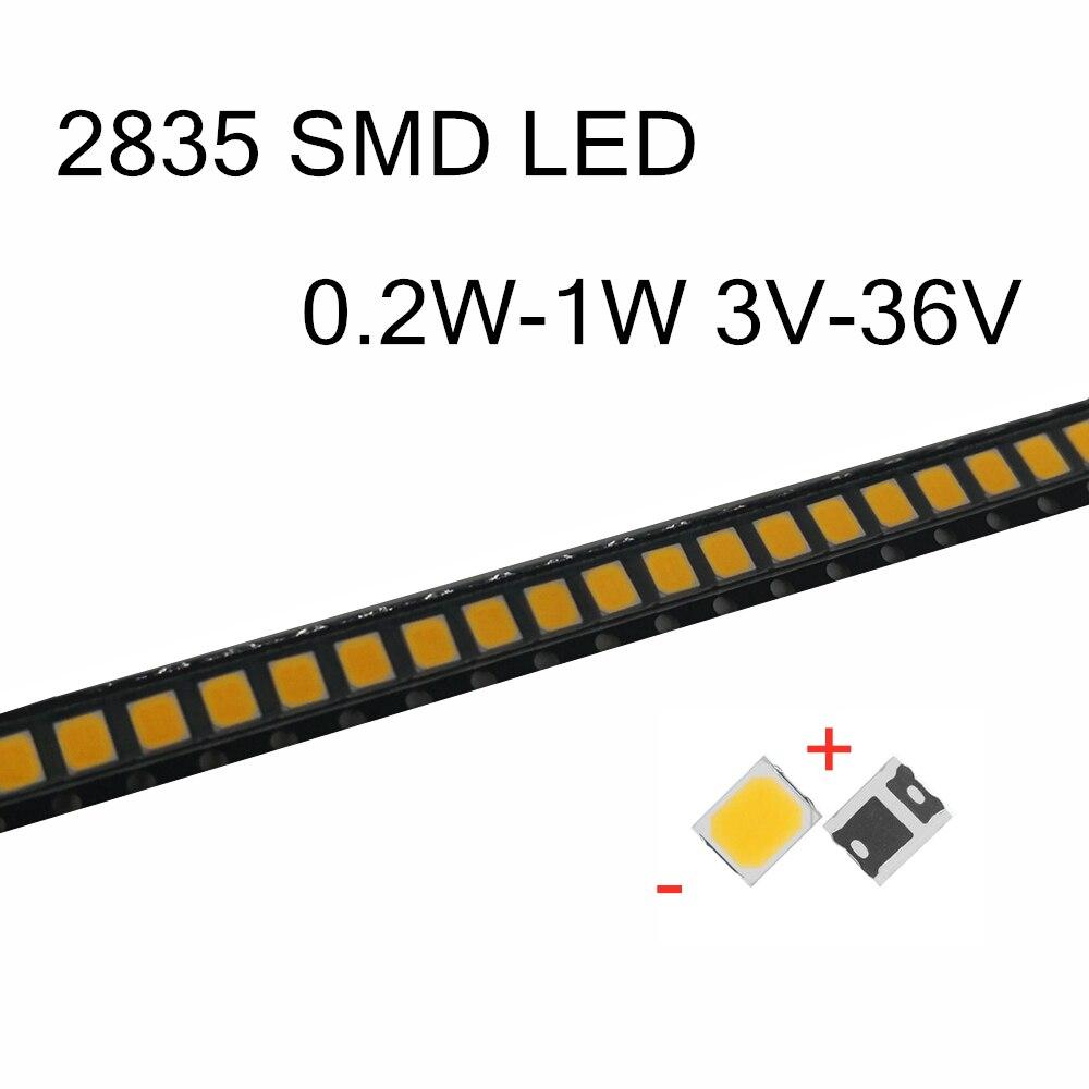 100Pcs SMD LED 2835 Chips 0.2W 0.5W 1W 3V 6V 9V 18V 36V Beads Light White Surface Mount PCB Light Emitting Diode Lamp