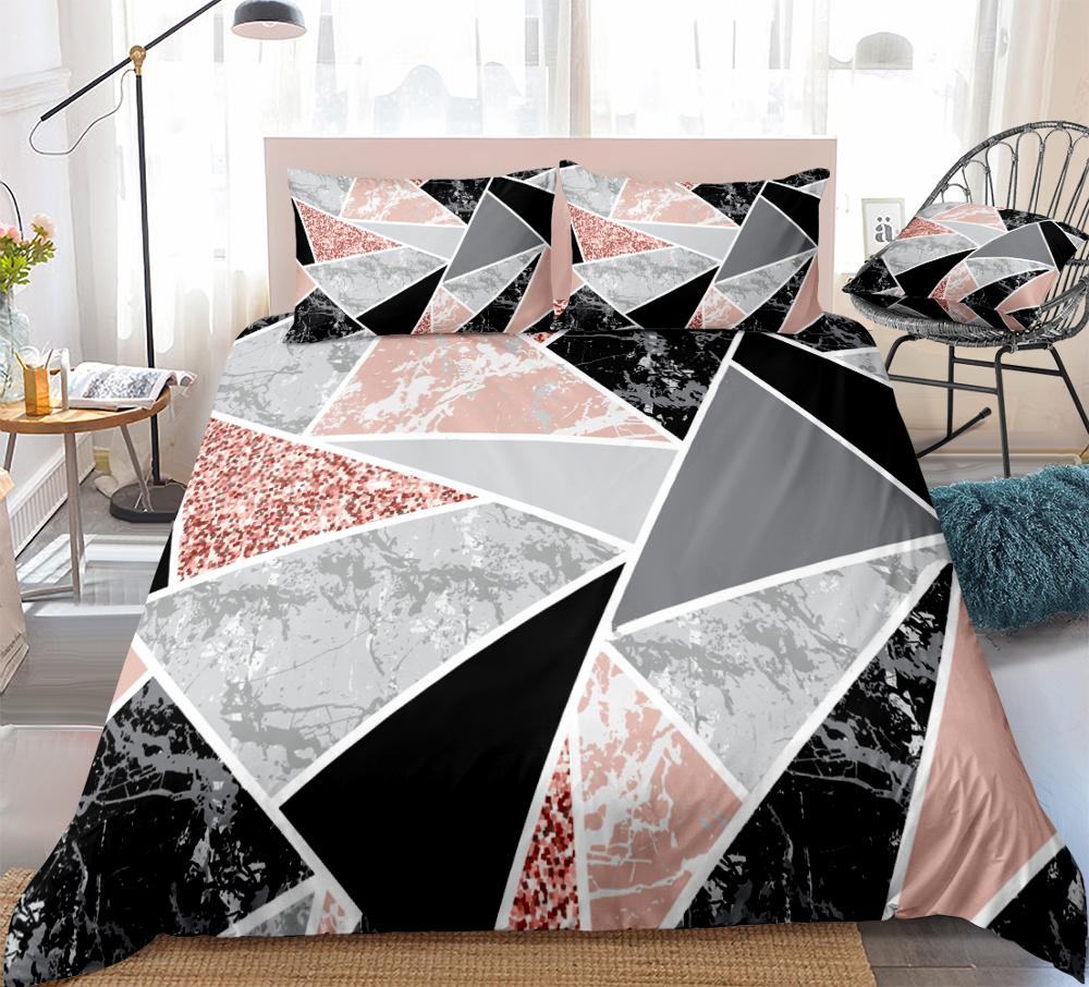 Marble Duvet Cover Set Geometric Shapes and Pink Glitter Bedding Kids Boys Girls Pink Black Marble Quilt Cover Queen Dropship|Bedding Sets| |  - title=
