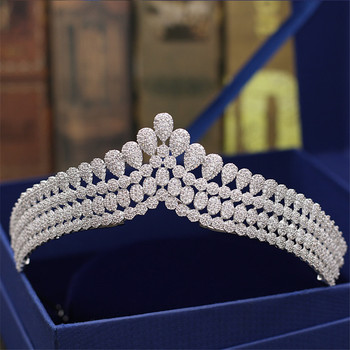 Luxury Bridal Full Zircon Tiaras Bride Crowns Rhinestone Crystal Princess Queen Diadem Headpiece Wedding Hair Accessories
