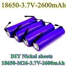 2021 novo tipo original m26 2600mah 10a 18650 íon de lítio bateria recarregável 2600mah segurança da bateria diy folha de níquel