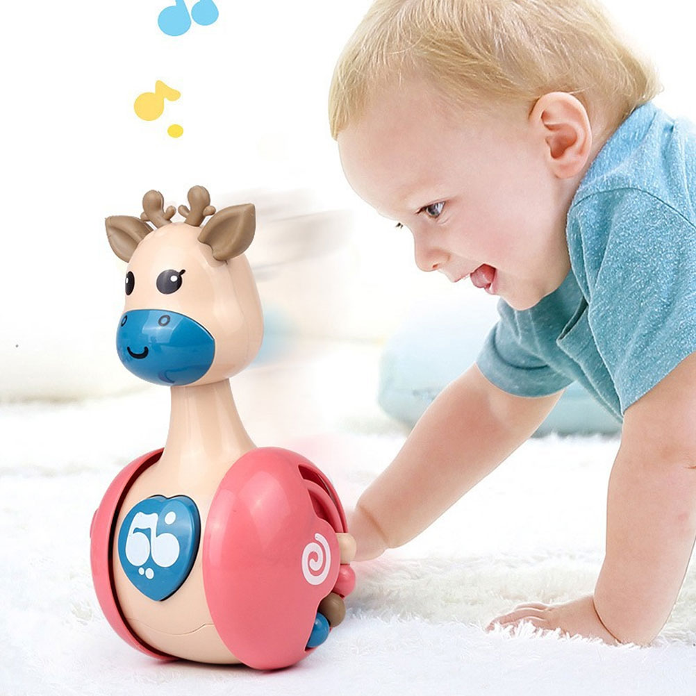 Baby Tumbler Toy Cartoon Giraffe Built-in Bell Toy for Babies and Newborns Teether Toy Education Toys