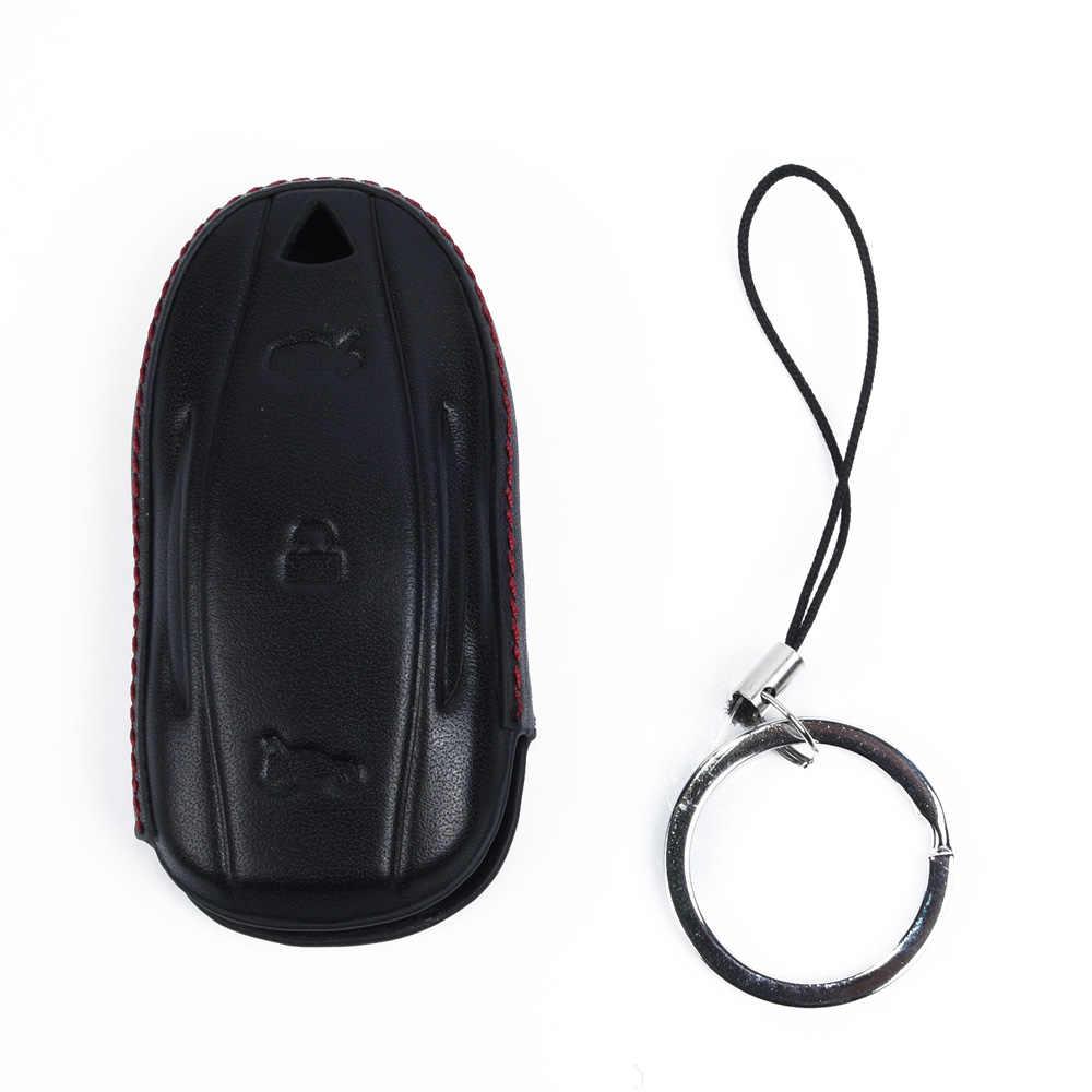 غطاء مفتاح السيارة حالة فوب حامل ل تسلا نموذج S قذيفة حامي استبدال مكافحة القذرة جلدية