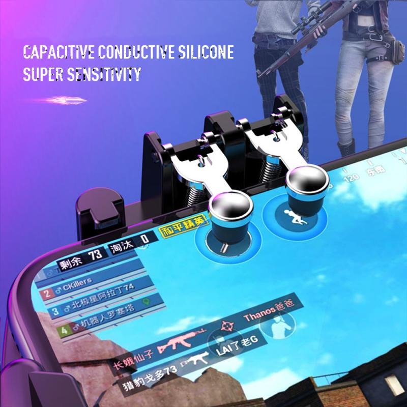 PUBG Mobile Joystick Controller Turnover Button Gamepad for PUBG iOS Android Six 6 Finger Operating Gamepad With Cooling Fan 6