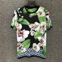 Europe style hot fashion Men/women's high quality T shirts Chic women floral print loose Tee shirt tops B430