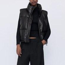 Elina Black Stand Collar Vests Women Fashion Zipper PU Leather Coats Women Elegant Autumn Winter Short Vests Female Ladies IAC