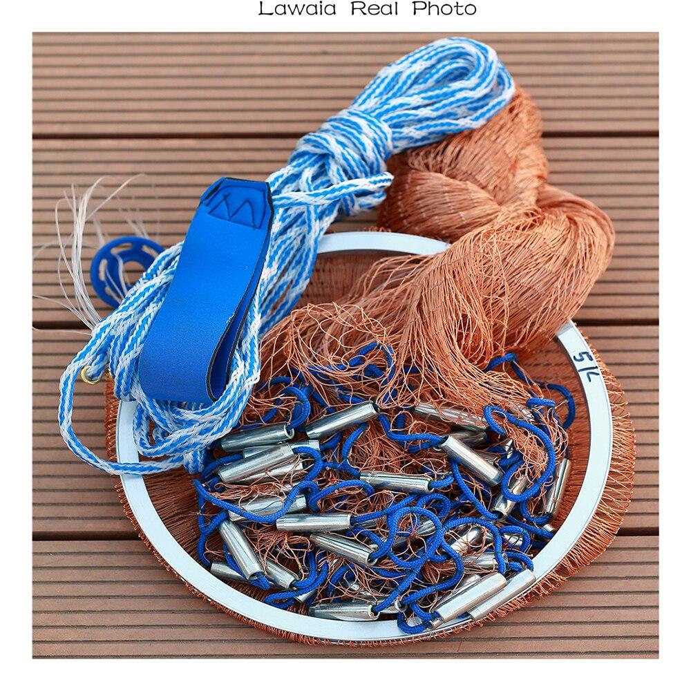 Lawaia Net Small pro rybářské sítě Čína rybářská síť Obsazení rybářských pneumatik Kabel skládací Mesh Fly skládací 3m Craft Fish Net 2.4m-7.2m