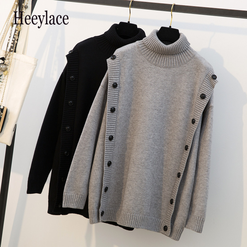 Plus Size New Fashion 2019 Women Loose Knitted Sweater Turtleneck Full Sleeve With Buttons Autumn Spring Female Pullovers XXXXL