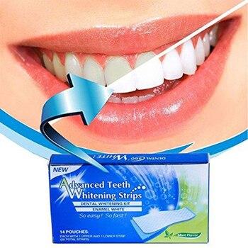 Set de 14 tiras de blanqueamiento dental eliminador de manchas de vino y té de diente amarillo